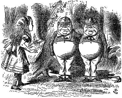 Alice is asked to choose between Tweedle-dee and Tweedle-dum